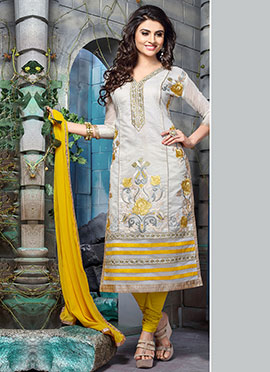 Light Grey Embroidered Salwar Suit