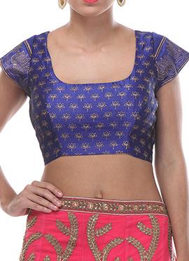 Light Indigo Blue Silk Floral Patterned Blouse