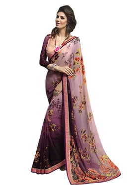 Light Lavender Purple N Dark Wine Saree