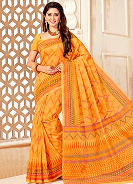 Light Mustard Yellow Cotton Printed Saree