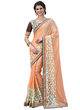 Light Orange Brasso Saree