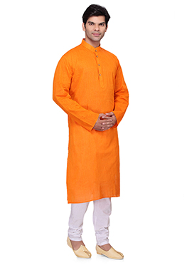 Light Orange Cotton Kurta Pyjama