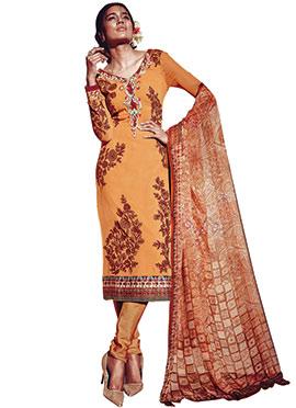Light Orange Embroidered Churidar Suit