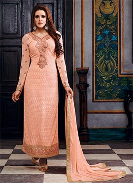 Peach Georgette Pakistani Suit