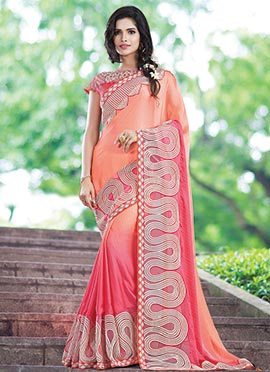 Light Orange N Red Georgette Saree