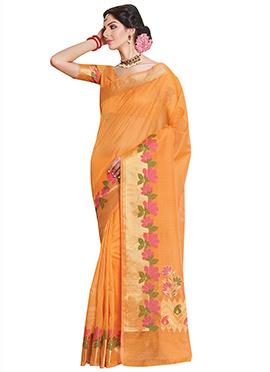 Light Orange Zari Saree