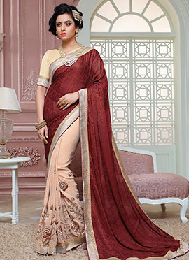 Light Peach N Maroon Georgette Half N Half Saree