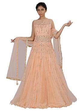 Light Peach Net Flared Gown