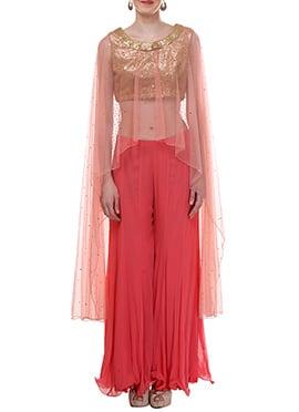 Light Peach Net Moonlight Palazzo Suit