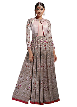 Light Pink Art Silk Jacket Style Gown