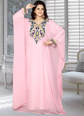 Light Pink Embellished Georgette Farasha