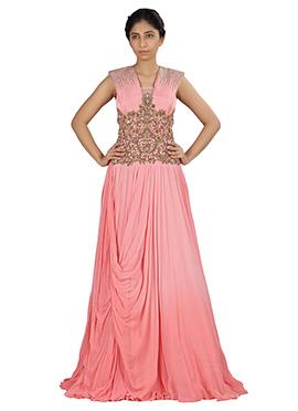 Light Pink Georgette N Raw Silk Draped Gown