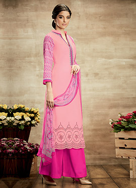 Light Pink Pure Cotton Palazzo Suit