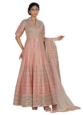 Light Pink Pure Silk Anarkali Suit