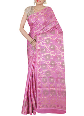 Light Pink Pure Silk Saree