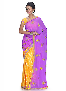 Light Purple N Yellow Half N Half Saree