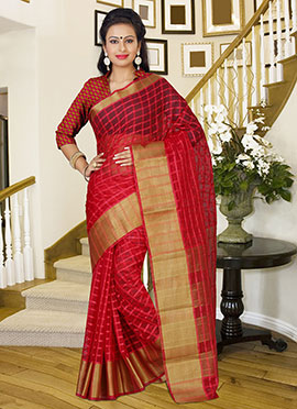 Light Red Silk Check Patterned Border Saree