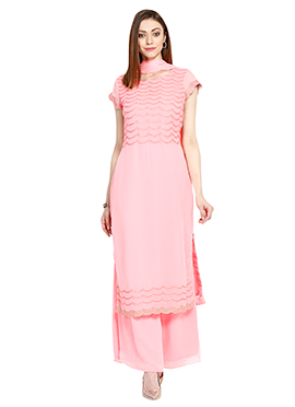 Light Salmon Pink Georgette Palazzo Suit