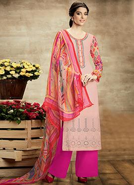 Light Salmon Pink Pure Cotton Palazzo Suit