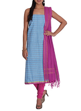 Light Steel Blue Striped Cotton Churidar Suit