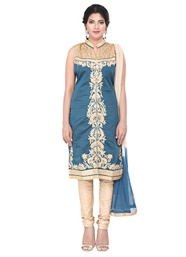 Light Teal Blue Embroidered Cotton Churidar Suit