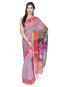 Light Thulian Pink Silk Cotton Saree