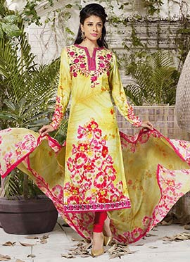 Light Yellow Chiffon N Crepe Churidar Suit