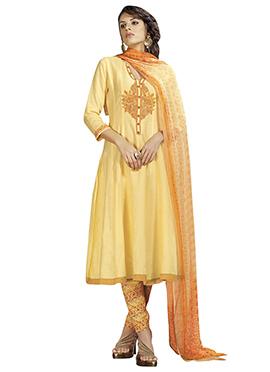 Light Yellow Cotton Anarkali Suit