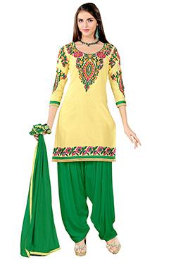 Light Yellow Cotton Patiala Suit