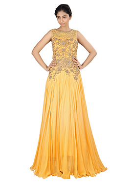 Light Yellow Georgette N Net Flared Gown