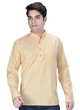 Light Yellow Linen Cotton Short Kurta