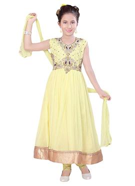 Light Yellow Net Kids Anarkali Suit