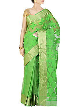 Lime Green Handloom Silk Cotton Jamdani Saree