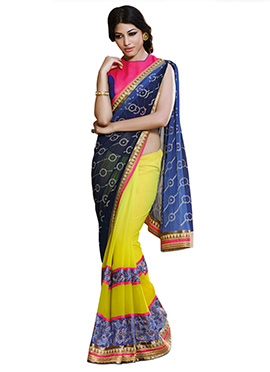 Lime Yellow N Blue Ombre Half N Half Saree