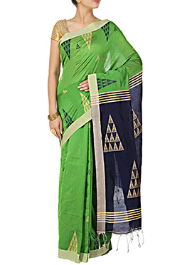 Lime Green N Navy Blue Silk Cotton Saree