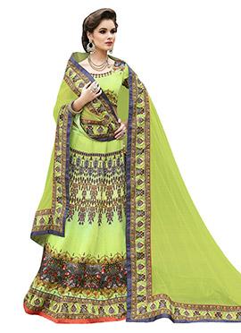 Lime Green Printed Lehenga Choli