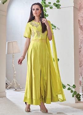 Lime Yellow Anarkali suit