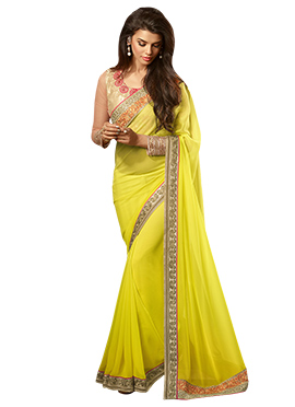 Lime Yellow Georgette Border Saree