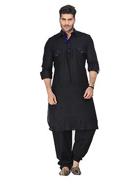 Linen Black Pathani Suit