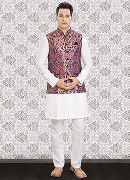 Linen White N Multicolored Bandi Set