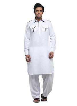 Linen White Pathani Suit