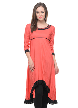 Lingra Coral Orange Asymmetrical Viscose Kurti