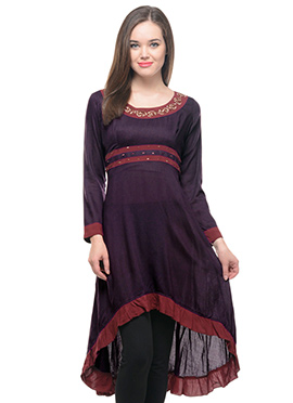 Lingra Dark Brown Asymmetrical Viscose Kurti