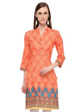 Lingra Orange Printed Kurti