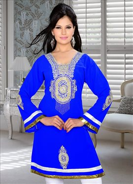 Lively Blue Georgette Kurti