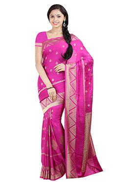 Magenta Art Crepe Silk Zari Weaving Saree