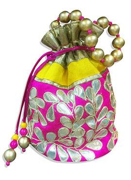 Magenta Art Dupion Silk Floral Designed Potli Bag