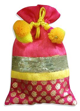 Magenta Art Dupion Silk Potli Bag