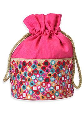Magenta Art Silk Embroidered Potli Bag