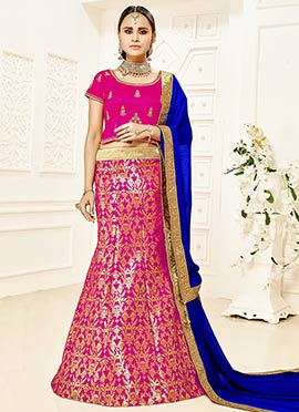 Magenta Art Silk Foil Printed Fish Cut Lehenga Cho